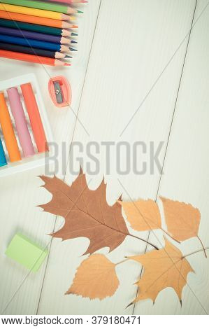 Vintage Photo, Frame Of Office Accessories And Leaves On White Boards, Copy Space For Text Or Inscri