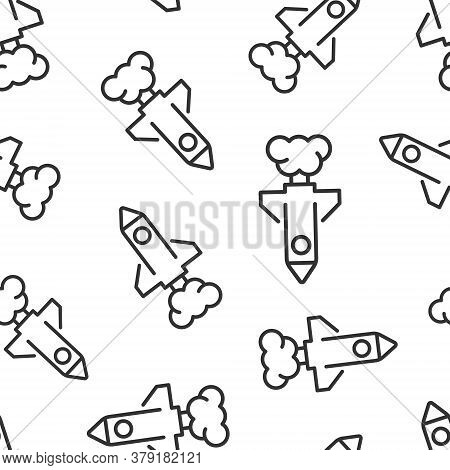 Rocket Icon In Flat Style. Spaceship Launch Vector Illustration On White Isolated Background. Sputni