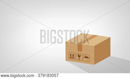 Crate Boxes 3d On Grey Background Banner For Copy Space Blank, Box Brown Flat Style, Cardboard Parce