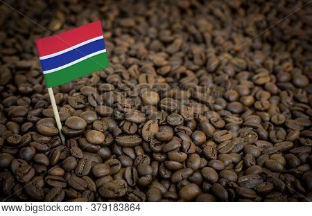 Gambia Flag Sticking In Roasted Coffee Beans. The Concept Of Export And Import Of Coffee