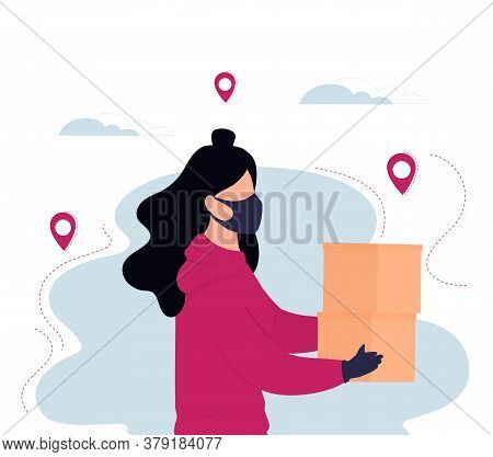 Courier Girl In Protective Mask And Gloves Deliver Parcel. Safe Food Delivery.