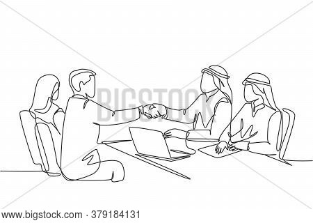 One Continuous Line Drawing Of Young Muslim Business Man Handshake His Company Manager. Saudi Arabia