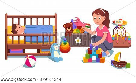 Mother Cleaning Up Child Bedroom Picking Toys