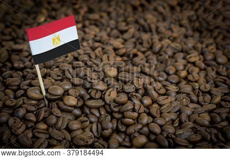 Egypt Flag Sticking In Roasted Coffee Beans. The Concept Of Export And Import Of Coffee