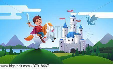 Boy Kid Medieval Horseman Knight Riding Horse