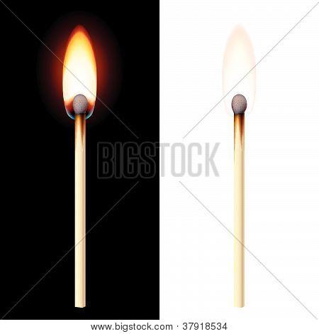 Realistic burning match