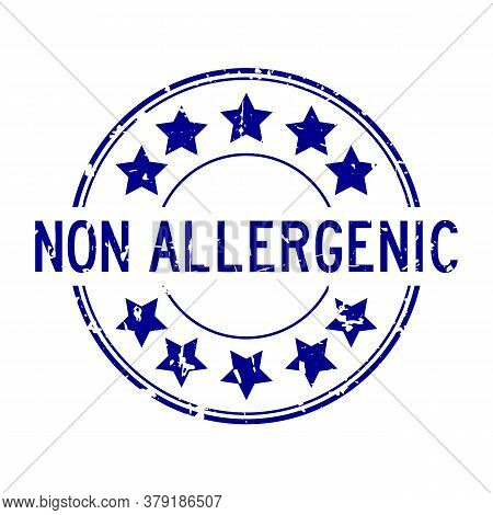 Grunge Blue Non Allergenic Word With Star Icon Round Rubber Seal Stamp On White Background
