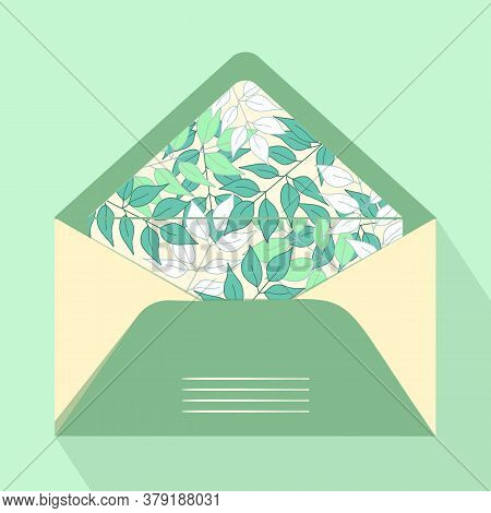 Vector Postal Open Envelope And Postcard With Floral Print On Isolated Background. Green Envelope Fo