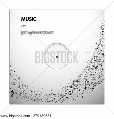 Music Festival Poster Or Banner Template. Vector Classical Music Festival Text On Stave Background