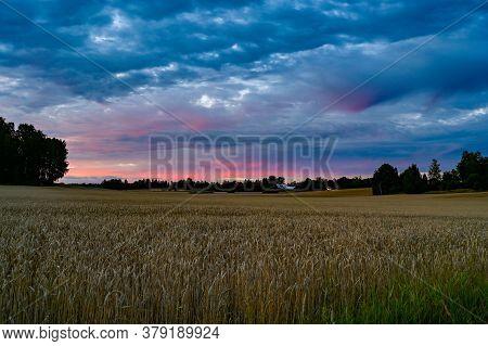 Dramatic Sunset Over Fields Near Kumla Sweden