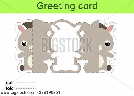 Cute Donkey Fold-a-long Greeting Card Template. Great For Birthdays, Baby Showers, Themed Parties. P