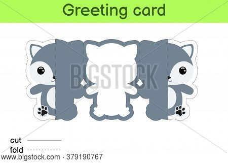 Cute Wolf Fold-a-long Greeting Card Template. Great For Birthdays, Baby Showers, Themed Parties. Pri