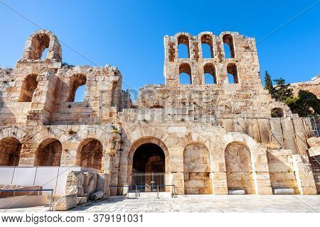 Odeon Of Herodes Atticus At Acropolis Of Athens, Greece. It Is One Of Main Landmarks Of Athens. Monu