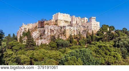 Panoramic View Of Acropolis, Athens, Greece. Famous Acropolis Hill Is Top Landmark In Athens. Urban