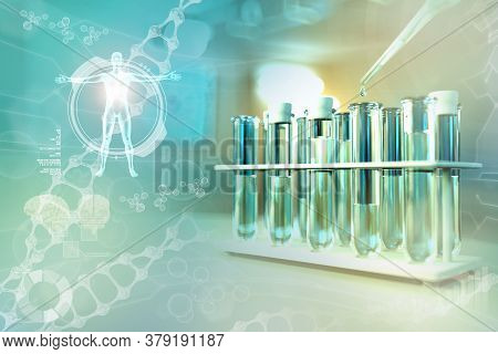 Lab Test-tubes In Modern Medical College Office - Drinkable Water Quality Test For Bacteria Design B