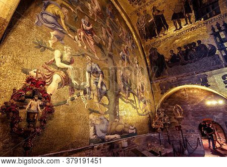 Venice, Italy - May 21, 2017: Golden Wall Mosaic Inside St Mark`s Basilica Or San Marco In Venice. S