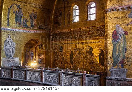 Venice, Italy - May 21, 2017: Golden Wall Mosaic Inside St Mark`s Basilica Or San Marco, It Is Top L