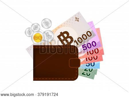 Thai Money And Wallet Isolated On White, Salary Or Savings Concept, Banknote Money Thai Baht