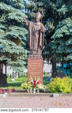 Jaroslaw, Poland - June 12, 2020: Statue Of Pope John Paul Ii.