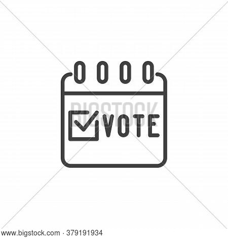 Election Vote Calendar Line Icon. Linear Style Sign For Mobile Concept And Web Design. Voting Day Ca