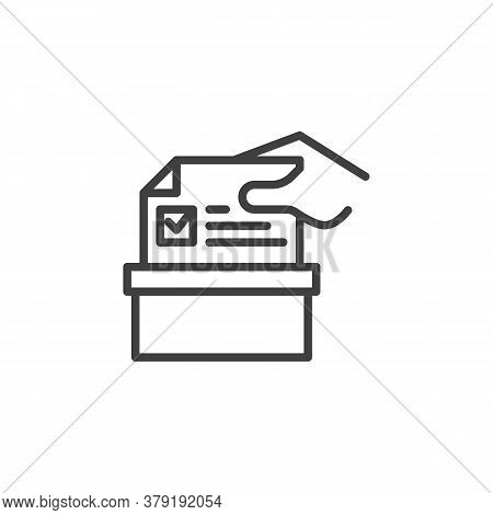 Hand Putting Voting Ballot In A Box Line Icon. Linear Style Sign For Mobile Concept And Web Design.
