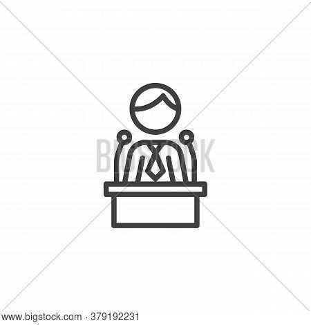 Politician Speaker Line Icon. Linear Style Sign For Mobile Concept And Web Design. Orator Speaking F