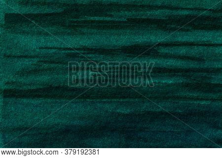 Abstract Art Background Dark Green And Black Colors. Watercolor Painting On Canvas With Soft Emerald