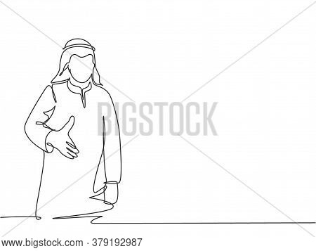 Single Continuous Line Drawing Of Young Happy Muslim Businessman Give Handshake Gesture. Arab Middle
