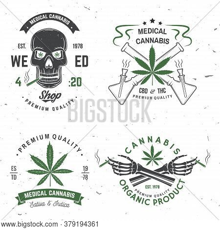 Set Of Medical Cannabis Badge, Label With Skeleton Hand, Smoking Marijuana. Vector. Vintage Typograp