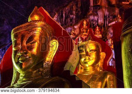 Golden Buddha Statues In Pindaya Cave Located Next To The Town Of Pindaya, Shan State, Burma, Myanma