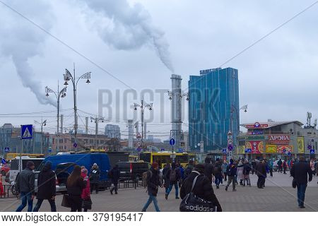 Kyiv, Ukraine, February 25, 2020. Pedestrians Near The Central Train Station. Headquarters Apartment