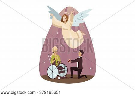 Protection, Disability, Support, Religion, Wedding, Christianity Concept. Angel Biblical Character H