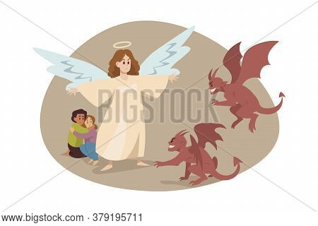 Christianity, Religion, Protection, Devil Concept. Guardian Angel Biblical Religious Character Savin