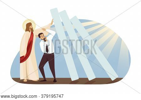 Fear, Crisis, Saving, Religion, Christianity, Business Concept. Jesus Christ Son Of God Holding Fall