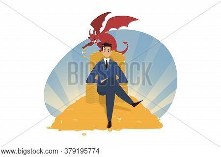 Business, Wealth, Religion, Christianity, Success, Temptation, Evil, Devil Concept. Young Businessma