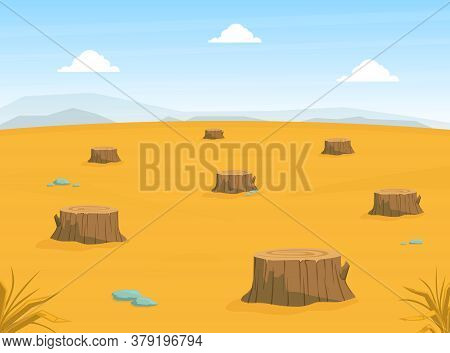 Sandy Desert Landscape With Many Stumps, Deforestation, Drought, Global Warming Conept Vector Illust
