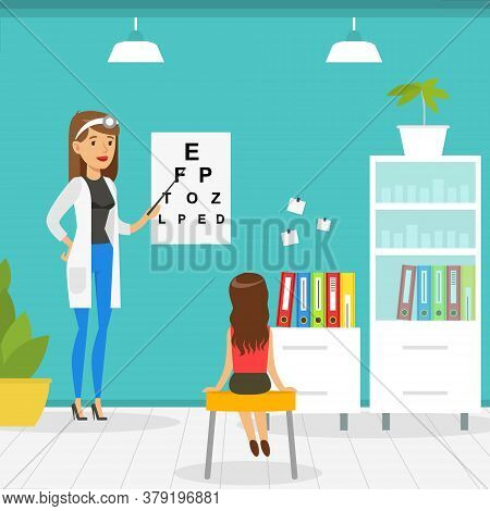 Optometrist Checking Girl Eyesight With Test Chart In Office, Doctor Woman Doing Medical Examination
