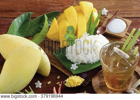 Mango And Sticky Rice On Wooden Tray With Lemongrass Water, Thai Fruit, Thai Dessert.
