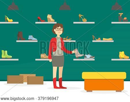 Woman Shopping For Shoes In Footwear Store, Girl Choosing And Buying Footwear In Mall Department Vec