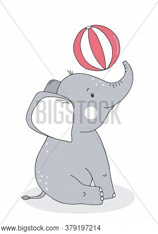 Cute Baby Elephant With Balloon. Cartoon Character. Poster For Baby Room. Childish Print For Nursery