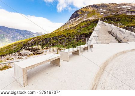 Utsikten Viewpoint At Gaularfjellet. Tourist Attraction. Scenic Route In Norway.