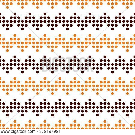 Orange And Brown Seamless Zigzag Pattern, Vector Illustration. Seamless Chevron Pattern With Lines F