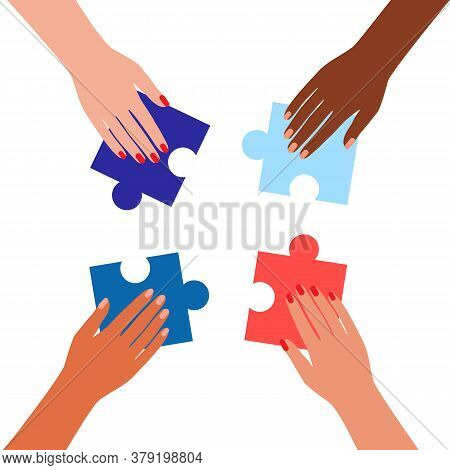 People Caucasian And Black Assembling Jigsaw Puzzle. Coworking And Business Partnership Man And Woma