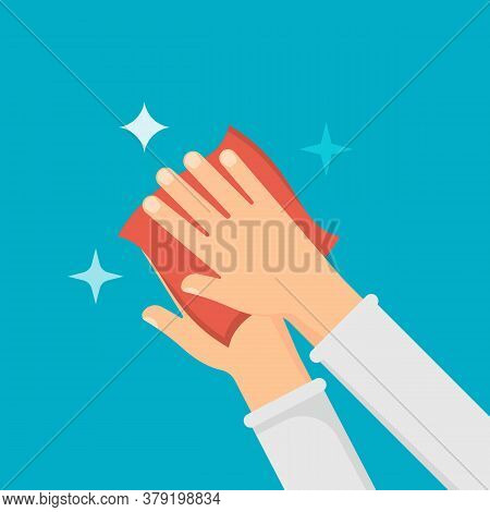 Disinfection Concept. Hands And Wet Wipe. Vector Illustration.