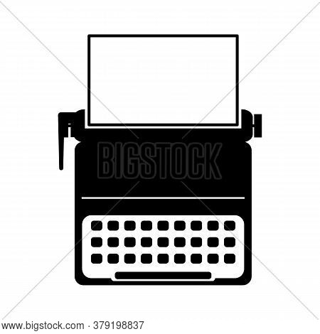 Typewriter Portable Retro Icon Vector Art Logo Illustration
