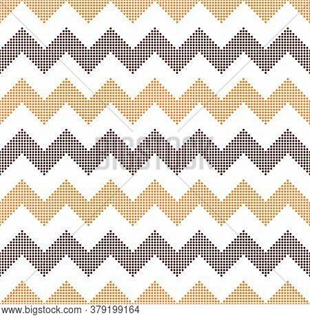 Halloween Geometric Chevron Background. Orange And Brown Seamless Zigzag Pattern, Vector Illustratio