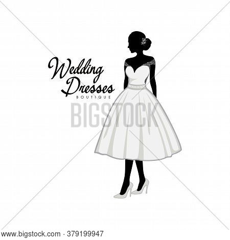 Beautiful Bride With Brocade Short Gown, Bridal Boutique Logo, Bridal Gown Logo Vector Design Templa