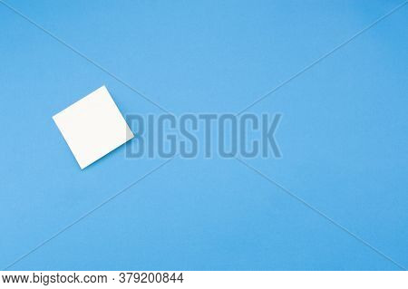Blank Sticker Isolated On Blue Background With Place For Text