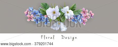 Vector Flower Arrangement Of White, Blue And Pink Flowers