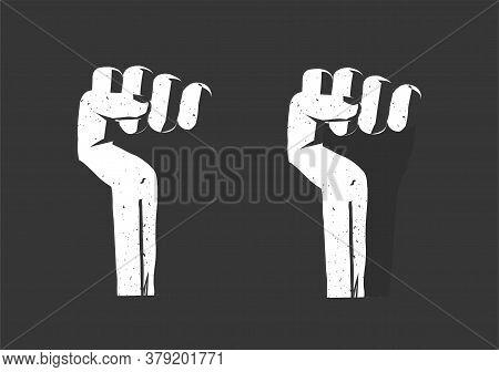 Revolution Hand Fist Up As Freedom Power Vector Flat, Propaganda Rebel Protest Sign, Radical Strike